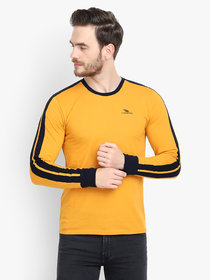 Le Bourgeois Men'S Yellow Plain Cotton Blend Round Neck T-Shirt