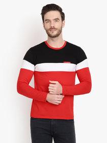 Men Red Black Colorblocked Full Sleeve T-Shirt