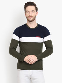 Men Olive Navy Colorblocked Full Sleeve T-Shirt