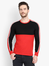 Men Black Red Colorblocked Full Sleeve Casual T-Shirt