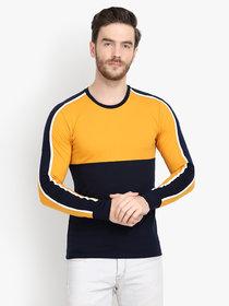 Men Yellow Navy Colorblocked Full Sleeve Casual T-Shirt