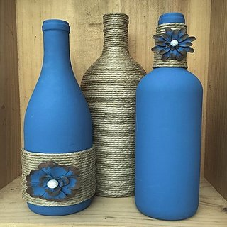 Roshan glass flower vase with rope fitting  BLUE color and use In home and dcor