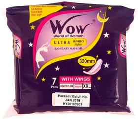 Wow World of Women Ultra Jumbo Nighter Sanitary Napkin XXL(Blue)