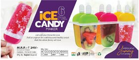 Kulfi Maker Mould,Popsicle Moulds, Ice Candy Maker, Plastic Frozen Ice Cream Mould Tray of 6 Candy with Reusable Stick
