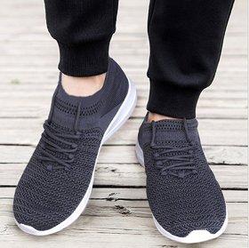Sukun Grey Socks Knitting Sport Shoes F31