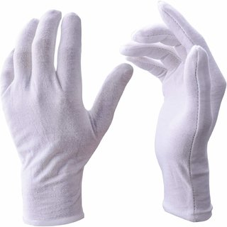White Gloves, 06 Pairs Soft Cotton Gloves, Best Quality safety from Sun Protection, Etc.