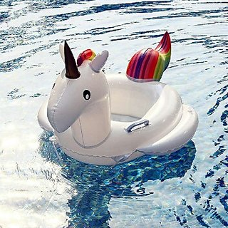 Shopfever Unicorn Kids Swimming Ring Seat Boat Outdoor Games Swim Inflatable Toy Kit