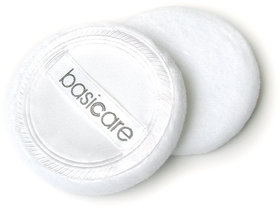 Basicare 100 Cotton Velour Satin Backed Compact Puff pack of 2
