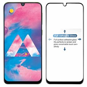 Samsung Galaxy A30 Full Glue Tempered Glass Screen Guard By Generic Edge to Edge Screen Protection (Pack of 2)