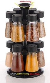12 Pieces Multipurpose Revolving Multicolor Plastic Spice Rack For Kitchen