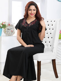 Be You Embroidered Women Crush Cotton Nighty / Night Gowns (Free Size) Black