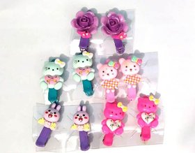 Unique Cute Cartoon Character Claw Clips For Baby Girls Hair tie Hair Claws Clips (Set Of 5 Pairs)