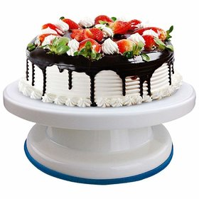 Nillion  Plastic Cake Tools Decorating 360 Round Easy Rotate Turntable Revolving Cake Decorating Turntable Stand, 28cm