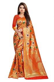 Red Color Jaqcuard work flower design banarasi silk saree with blouse