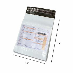 TNQ 50 PACK of Economy Polybag Size 15 x 19 (15 x 19 inches) with Document Pouch POD Jacket, Courier Bags/Envelopes