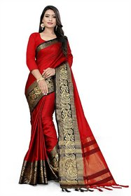 Red color Heavy peacock black border saree with blouse