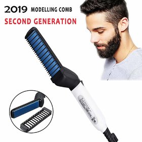Beard Straightener Hair Styler Comb, 2019 Upgraded Electric Anti-Scald Modeling Comb Men's Hair Straightening Comb