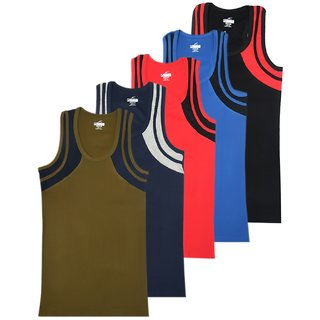 JET LYCOT Men's 100% Combed Cotton Rib Fabric Prime Gym Vest Pack of 5