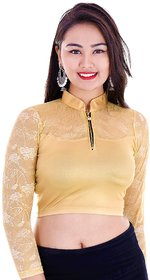 Readymade Stretchable Shimmer Lycra And Net Gold Stylish Collar Blouse