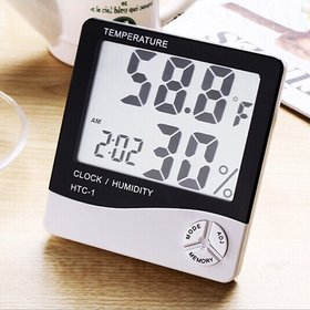 Martand Digital Hygrometer Thermometer Humidity Meter with clock Big LCD Display HTC- ( pack of 1 )