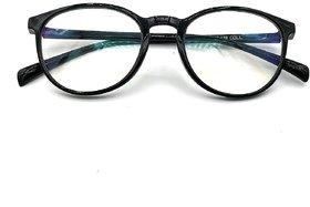 GO EWEAR Blueray Block UV Protected Plastic Unisex Computer Glasses In Black Round Frame (2341, 50 mm, Transparent Len