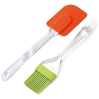 Combo Pack of 2 Pcs  High Quality Silicone Baking Oil Brush and Spatula Crystal Handle Cooking and Kitchen Tools