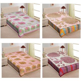 DK Lifestyles Single Bedsheet Cotton Jaipuri Print Bedcover - (Combo Set of 4)