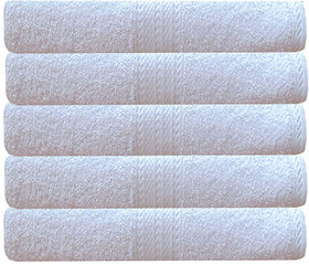 Akin Premium White Cotton 550 GSM Bath Towels Set Of 5 ( Length60 Inches, Width30 Inches )