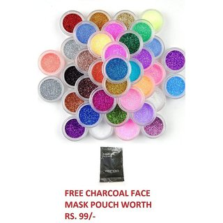 Pack of 12 Pc. Sweetgirl   Nail Art Make Up Glitter Shimmer Dust Powder Decoration, With Free Gift