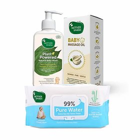 Mother Sparsh Plant Powered Natural Baby Wash, Massage Oil for Babies  99 Pure Water Wipes