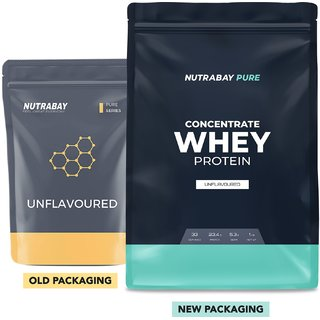 Nutrabay Pure Series Whey Protein Concentrate - 1 kg, Unflavoured