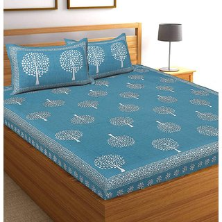 DK Lifestyles QUEEN Bedsheet with 2 Pillow Cover Double Bed COTTON Jaipuri Print
