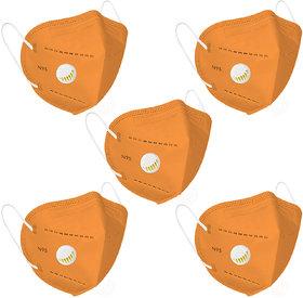 Status N95 Mask With Respirator Orange Pack Of 5