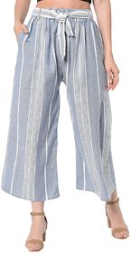 TNQ Women's Summer Striped Elasticated Wide Leg Belted Culottes/ Palazzo Pants / Cropped Plazo / Trousers