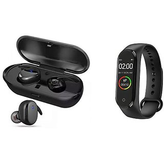 TWS 4 bluetooth headset and M4 fitness band Heart rate bandHealth Watch Calories Tracker Band