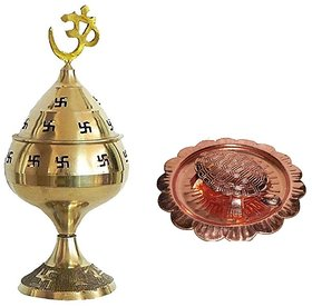 De-Ultimate Combo Of 2 Pcs Kachua Yantra ( 2 no )  with Plate With ( No.3 )Jali  Jyoti Deep with Stand, Cover  Om Puja