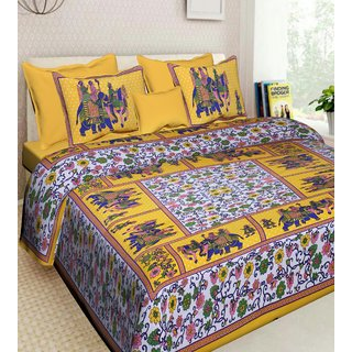 DK Lifestyles Jaipuri Print Cotton Double QUEEN Size Bedsheet With 2 Pillow Cover