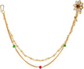 Hetprit Shimmering Gold Plated Graceful Nose Pin For Women