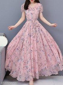 Peach Printed Maxi Dress For Women by Raabta Fashion
