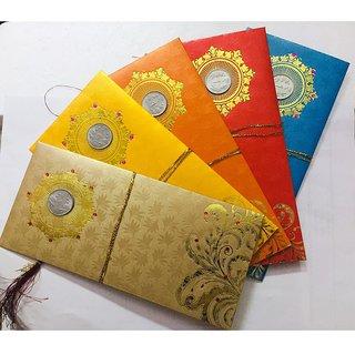 100 Pcs. Coin Designer Money Envelope, Shagun Envelop, Wedding, Engagement, Any Occasion Random Color Random Design