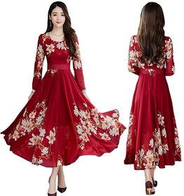Raabta Maroon Flower Print Dress With Full Sleeve 0101