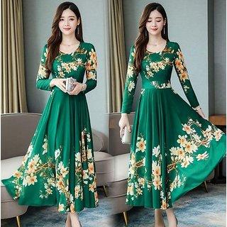 Raabta Fashion Green Flower Printed Maxi Dress For Women With Full Sleeve 0101