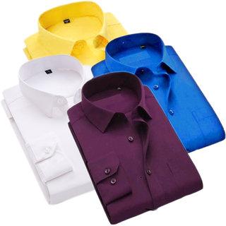 Fashion Cloting Combo Of 4 Multicolor Men Plain Cotton Regular Fit Shirt