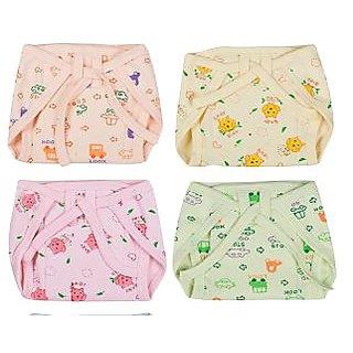 Kotton Labs Multi-Colour New Born Baby (0-3 Month , Xs Size 4 pcs ) Hosiery Cotton Cloth Nappies