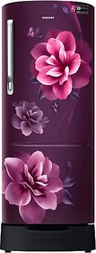 Samsung 230 L Direct Cool Single Door 3 Star (2019) Refrigerator with Base Drawer (Camellia Purple, RR24R285ZCR/NL)