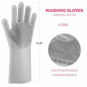 Reusable Silicone Dishwashing Gloves, Pair of Rubber Scrubbing Gloves for Dishes, Wash Cleaning Gloves with Sponge Scrub