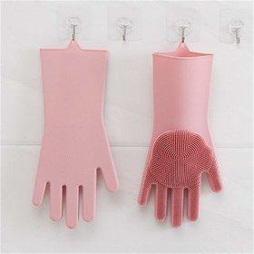 AJSCOP Home Magic Silicone Dish Washing Gloves, Silicon Cleaning Gloves, Silicon Hand Gloves for Kitchen Dishwashing