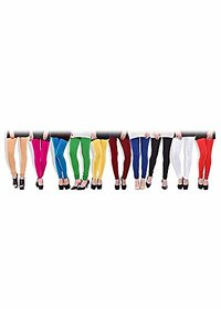 Aashish Fabrics Multicolor Cotton Lycra Plain Leggings For Women (Pack Of 10)
