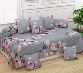 JSAMPS Premium Printed Super Soft Siwan set 8Pcs(1 Single Bedsheet,5 Cushion Covers and 2 Bolster Covers)
