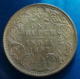 1897 ONE RUPEE VICTORIA EMPRESS RARE COIN